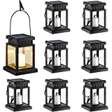 GIGALUMI 8 Pack Solar Hanging Lantern Outdoor, Candle Effect Light with Stake for Garden,Patio , Lawn, Deck , Umbrella, Tent,