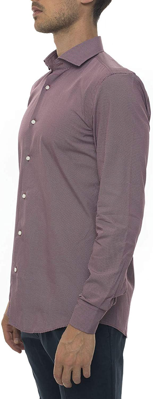 BOSS Camisa casual burdeos algodón hombre Bordeau 41: Amazon ...