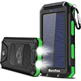 Solar Charger 20000mAh, BENFISS Ultra-Portable Durable Solar Power Bank with 2 USB Output 2 LED Flashlight and Compass, Water