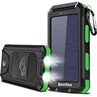 Solar Power Bank, BENFISS 20000mAh Portable Solar Charger for Cell Phone, Built-in Dual 5V USB/LED Flashlight and…