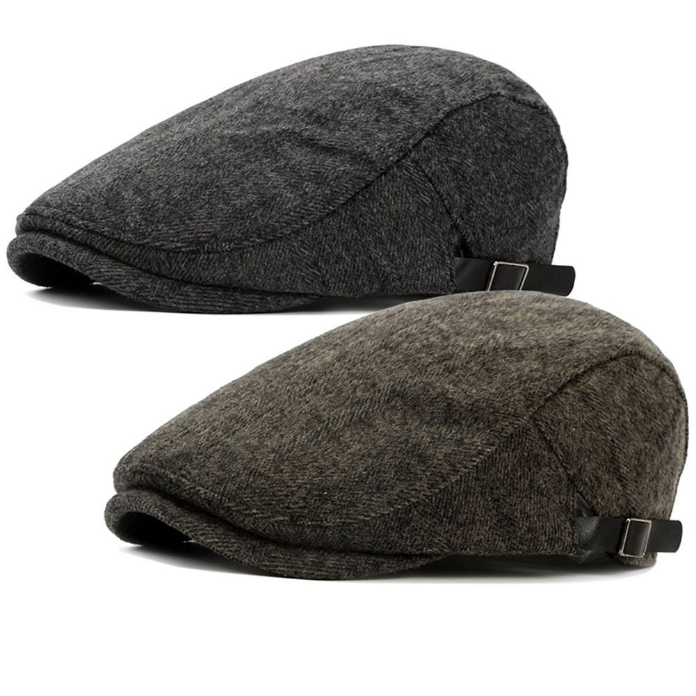 ALL IN ONE CART 2 Pack Men s Warm Wool Tweed Blend Newsboy Flat Cap Ivy  Cabbie 161450f37083