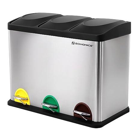 SONGMICS Cubo de Basura de Acero Inoxidable, Basurero Reciclaje con Tres Compartimientos y Pedal, 45 litros, 3x15L, Coloreado LTB45L