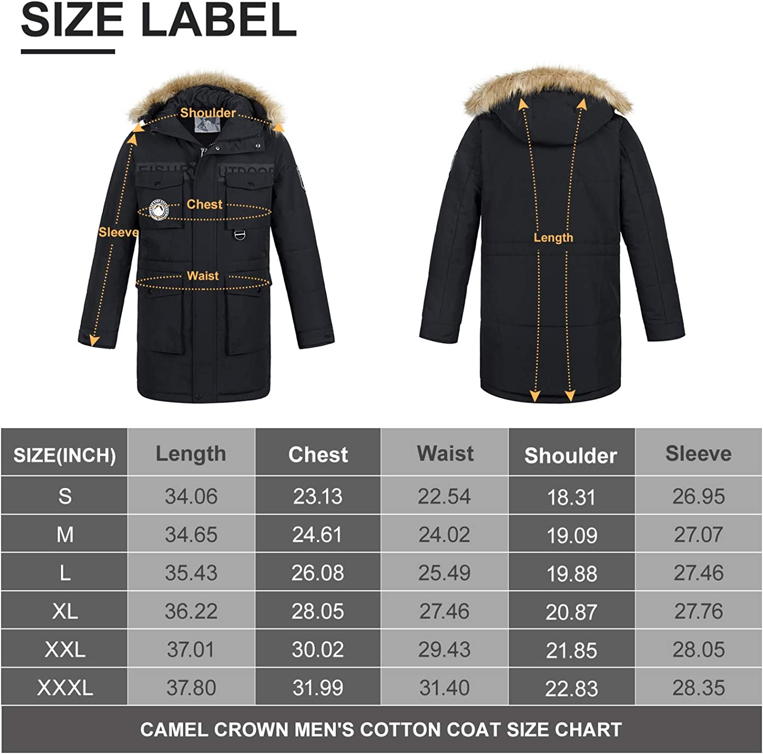 CAMEL CROWN Men/'s Winter Thicken Insulated Parka Jacket Warm Hooded with Faux Fur Padded Coat