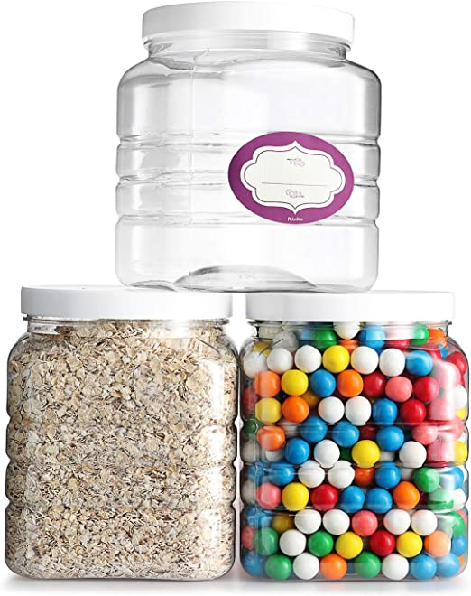 Pack of 3-64 Oz Clear Empty Plastic Storage Containers with Lids - Square Pantry Containers - Clear Jars with Air Tight Lids and Labels – BPA Free Plastic Jar - Paint Storage Containers
