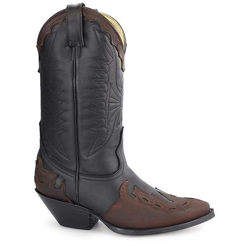 Grinders Arizona HI Black/Burgundy Unisex de Cuero de tacón Cubano Casual Botas de Vaquero: Amazon.es: Zapatos y complementos