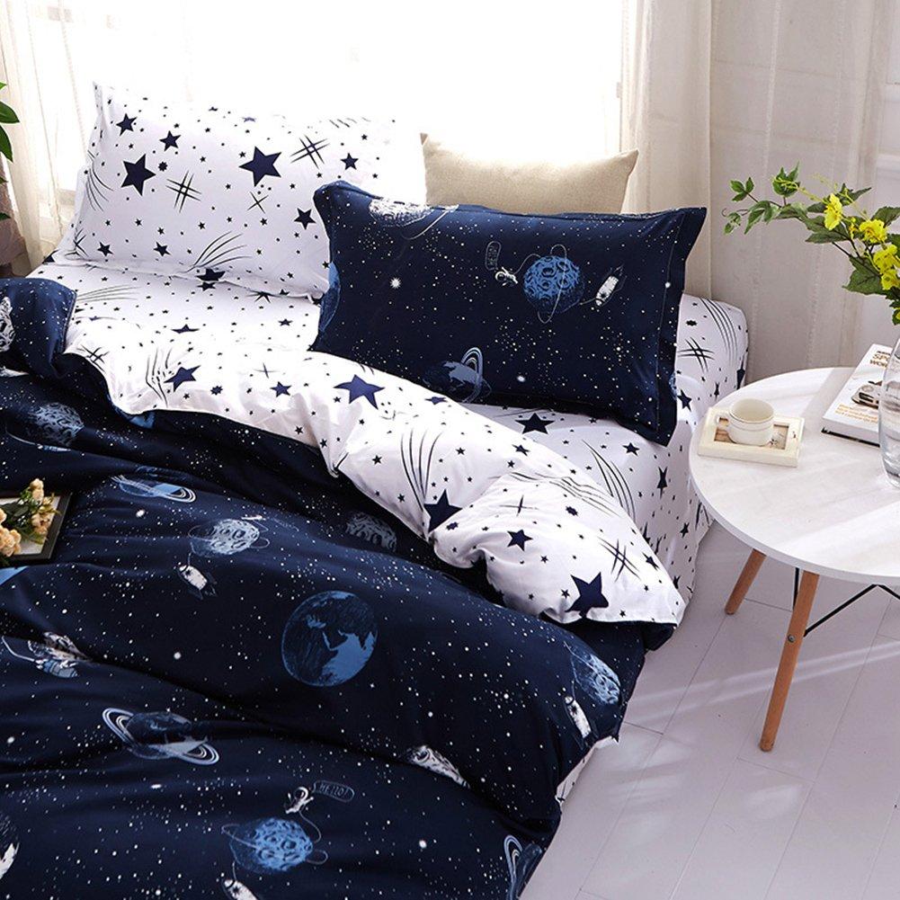 /Étoile de Dessin Anim/é dimpression 140x200cm+160x230cm+50x75cm, Bleu Morbuy Parures de Lit Sets 4 Pi/èces de Housses de Couettes avec 1 Housses de Couettes 1 Drap Plat 2 Taies doreillers