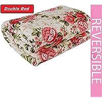 DEILYVERY Microfiber Polycotton Flowers Printed Dohar Double Bed Reversible AC Dohar