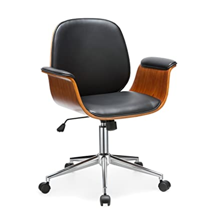 Porthos Home Office Chair Selma Office Chairs With Wheels, Curved Wooden  Armrests, Height Adjustable