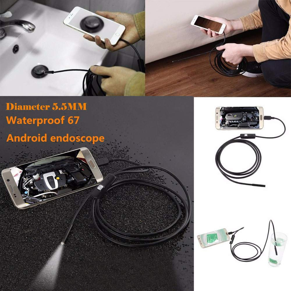 ABCOnline Endoscope, 5.5mm Waterproof USB Borescope Inspection Camera Snake Camera with 6 LED Adaptation for Andorid Phone/Windows 2000/XP/Vista/7 (5.5MM, Black)