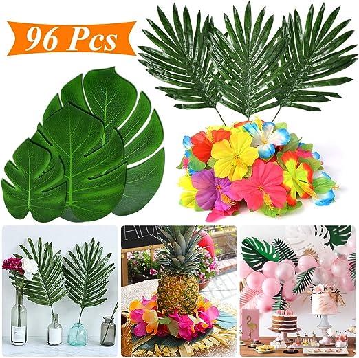 Tropical Party Decoration Supplies 96 Pcs Tropical Palm Leaves Hibiscus Flowers Monstera Leaf Table Decor Simulation Leaf Home Kitchen Photo Prop