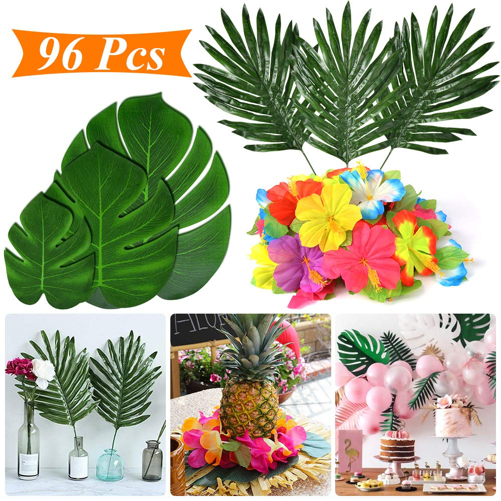 Tropical Party Decoration Supplies 96 Pcs Tropical Palm Leaves Hibiscus Flowers Monstera Leaf Table Decor Simulation Leaf Home Kitchen Photo Prop Hawaiian Aloha Jungle Luau Havana Night Party Supplies