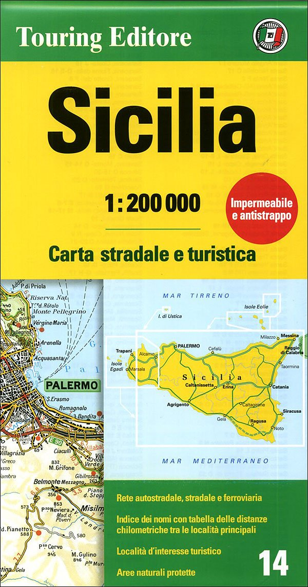 Sicily Sicilia Regional Road Map Touring Club Italiano