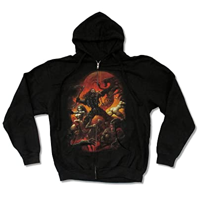 "Adult Rob Zombie ""Battle"" Black Zip Hoodie Sweatshirt"