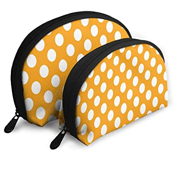 5bfc02d0c08 Amazon.com   Makeup Bag Orange Polka Dot Portable Shell Toiletry Organizer  For Mother Holiday 2 Pack   Beauty