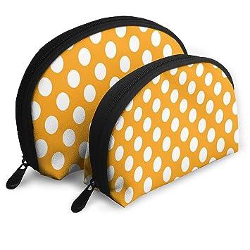 Amazon.com   Makeup Bag Orange Polka Dot Portable Shell Toiletry Organizer  For Mother Holiday 2 Pack   Beauty 4abca143698f3
