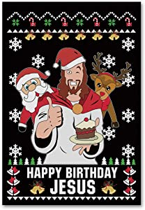 "Meltelof Black Happy Birthday Jesus Garden Flag, Jesus Santa and Reindeer Garden Flag, Xmas Party Porch Décor, Yard Flag 12""x18"" Double Sided"