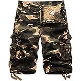 Hakjay Men's Camouflage Cargo Shorts Summer Fashion Shorts 3 4 Shorts
