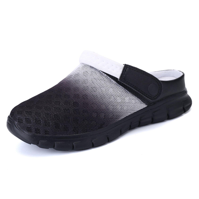 BARKOR Garden Shoes Mens Womens Clogs Summer Mesh Sandals Outdoor Unisex Water Shoes Black-46