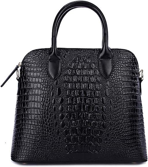 87971916 QZUnique Women's Cowhide Genuine Leather Crocodile Veined Cross Body  Shoulder Handle Amphibious Shell Bag Black