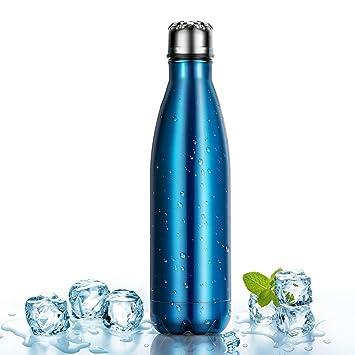 500ml Botella Térmica Fabricada en Acero Inoxidable, OMorc Deportiva Botella Mantiene la Bebida Fría/