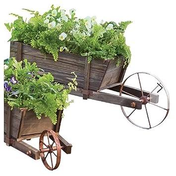 Large Solid Wood Wheelbarrow Planter With Functional Wheel Amazon