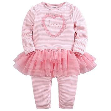 a75ad84d9f590 Nouveau née Rayé Barboteuses Tutu Grenouillères FOOTIES Pyjama Bébé Filles  Combinaisons en Coton