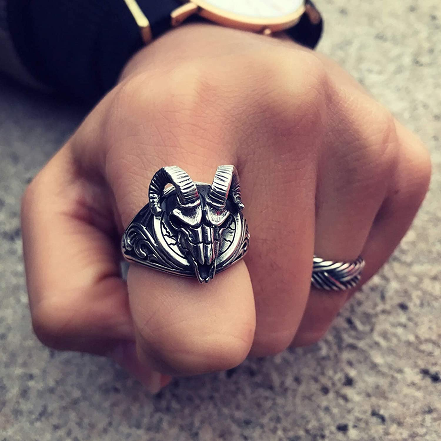 AMDXD Jewelry Ring Sterling Silver for Men Gothic Goat Head Ring Gothic Rings for Men