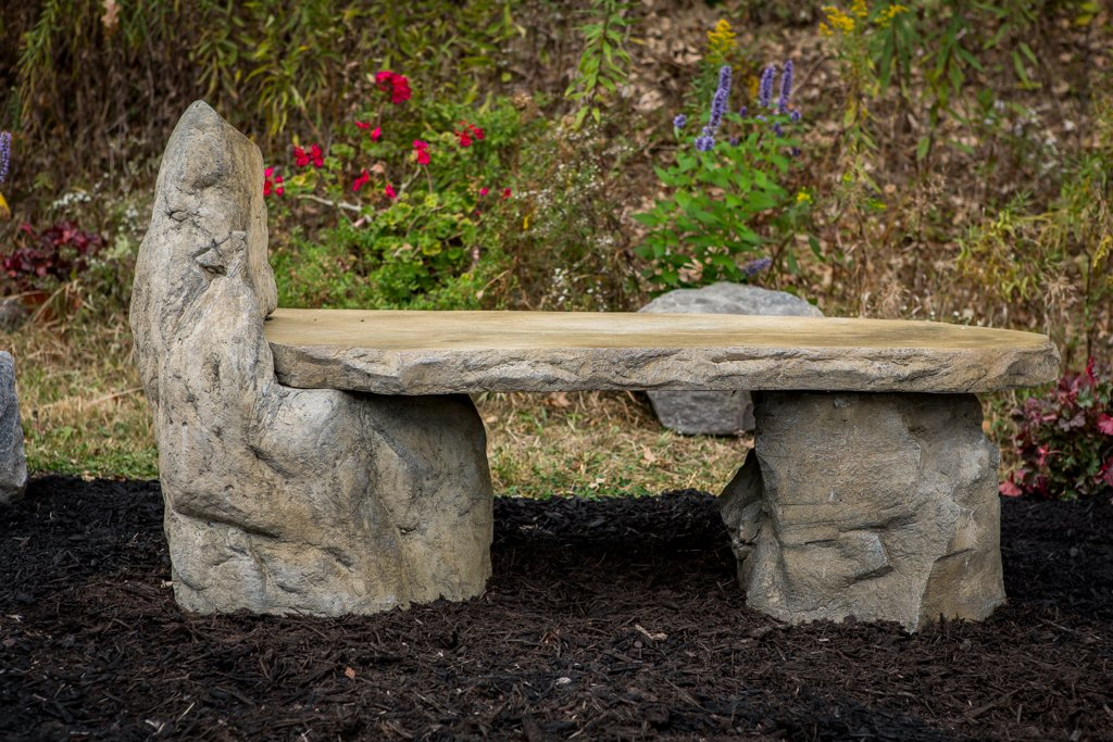 Ordinaire Amazon.com : Garden Bench Basalt Stone Boulder Bench With Back, Cast Stone  Rustic Lounge Bench, Outdoor Garden Patio Bench, 3 Piece Hand Sculpted Rock  ...