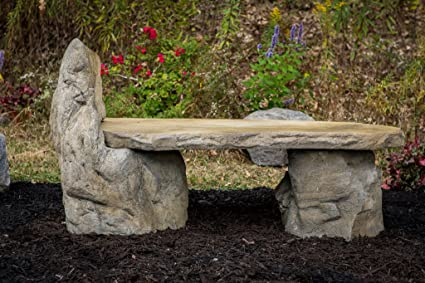 Garden Bench Basalt Stone Boulder Bench With Back, Cast Stone Rustic Lounge  Bench, Outdoor