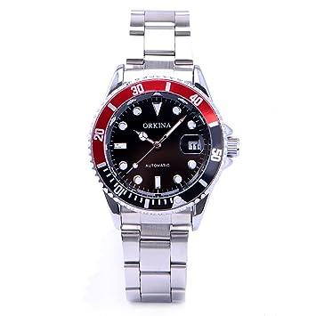 CLE DE TOUS Reloj de Pulsera para Hombre Movimento Mecanico Automatico Acero Inoxidable Negro y Rojo