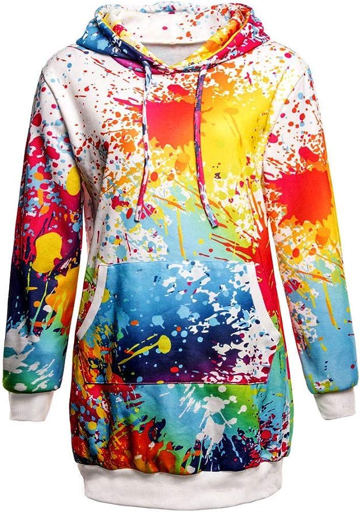 Cathalem Womens Fashion Hooded Jacket Dyeing Print Coat Outwear Sweatshirt Overcoat
