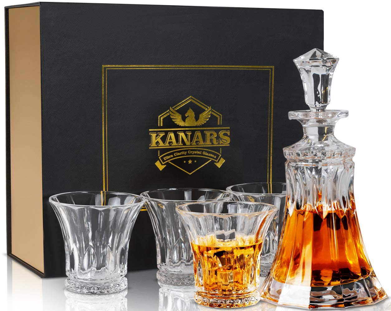 KANARS Lead Free Crystal Whiskey Decanter and Glasses Set with Unique Elegant Gift Box for Liquor, Scotch or Bourbon, 5 - Piece