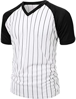 7217e964cea Xpril Men s Casual Cool Max Striped Short sleeve basebALL V-neck T-shirt