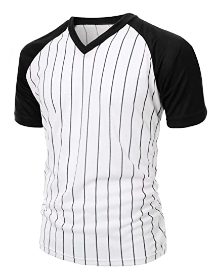 b3cd976b89e Men s Casual Cool Max Striped Short sleeve basebALL V-neck T-shirts BLACK XS