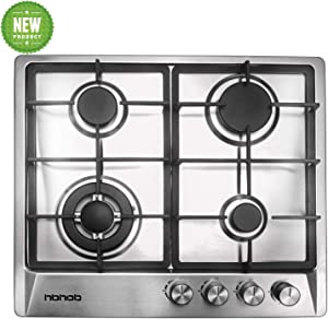 """24"""" inches Stainless Gas Cooktop Built in Gas Stove 4 Burners Gas Stove Cooktop (4 Sealed Burners) Stove Burner Castiron Grate Stove-Top LPG/NG Dual Fuel Thermocouple Protection and Easy to Clean"""
