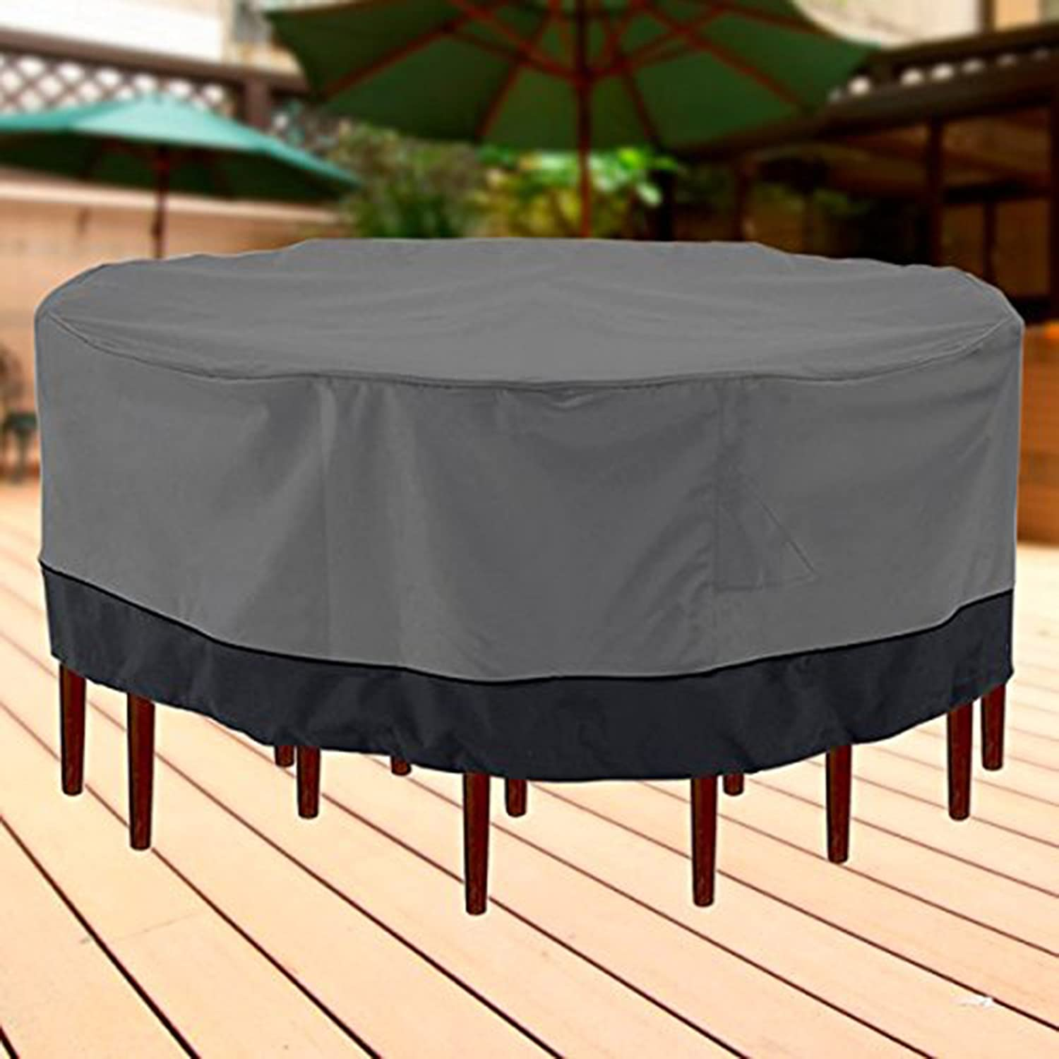 Amazon Outdoor Patio Furniture Table And Chairs Cover 94 Diameter Dark Grey With Black Hem
