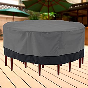 Outdoor Patio Furniture Table And Chairs Cover 94u0026quot; Diameter Dark Grey  With Black Hem