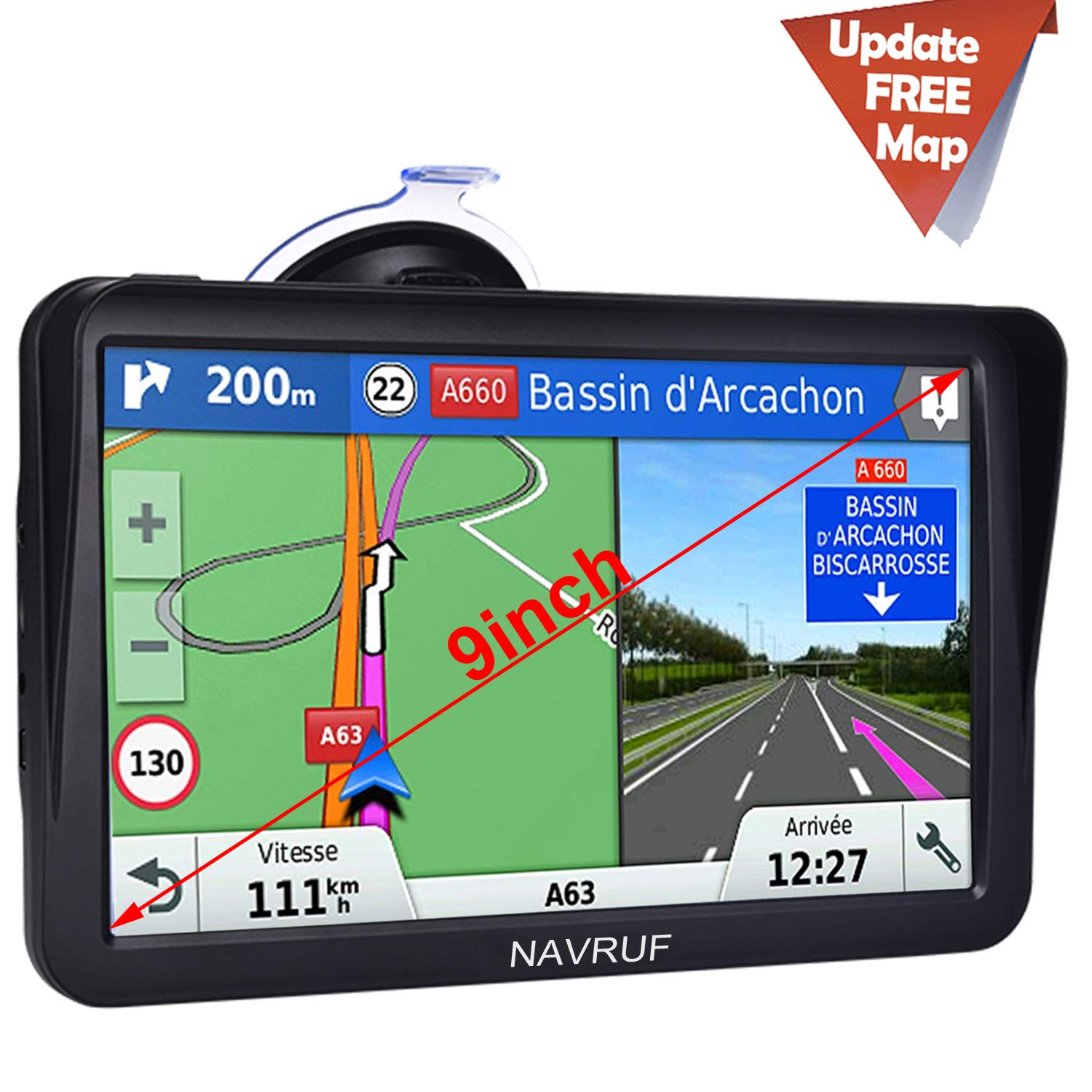 Car GPS Navigation,9 inch Truck GPS Touchscreen with Sunshade GPS Navigation System for Truck,8GB 256MB Navigation with POI Speed Camera Warning,Voice Guidance Lane,Free Lifetime Map Updates by NAVRUF