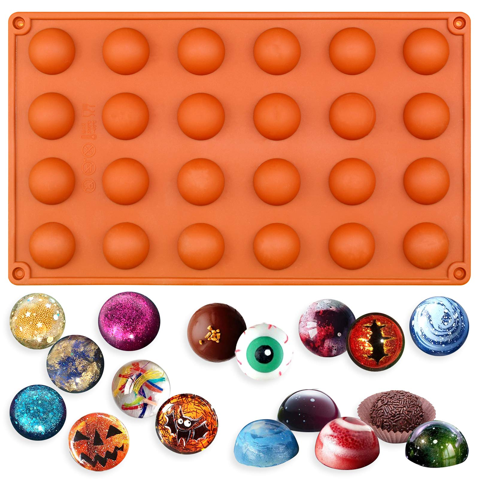 Funshowcase Mini Semi Sphere Half Round Silicone Mold Cookie Chocolate Teacake Fondant Candy Icing Tray