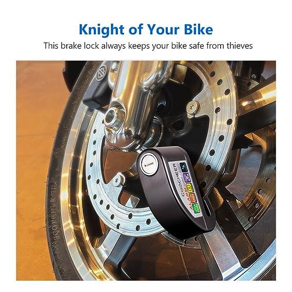 Candado Disco de Moto, Bloqueo Disco Con Alarma Hasta 110 dB Impermeable Antirrobo de Seguridad Cilindro de Clase B de 6 mm Perfecto Para Electromobile ...