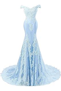 c9a2e22d8e0b2d JAEDEN Ballkleider Abendkleider Lang Meerjungfrau Hochzeitskleider Spitze  Satin mit Schleppe