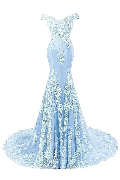 Mujer Vestidos de Noche Sirena Largo Vestido de Baile Vestido de Novia Encaje Satín Azul EUR32