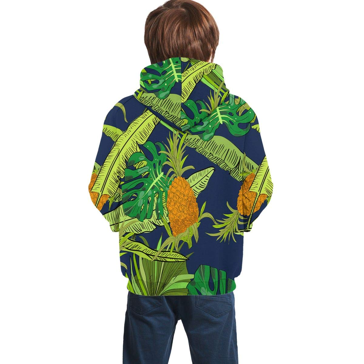 DANIPEW Youth 3D Print Tropical Leaves Pineapple Hooded Sweatshirt Kids