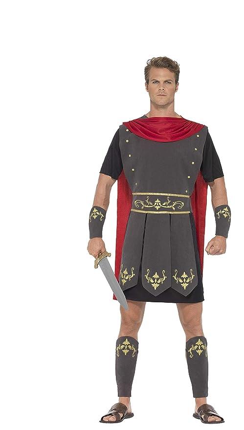 Smiffys-45495XL Disfraz de Gladiador Romano, con túnica, Capa incorporada, brazaletes ye, Color Negro, XL-Tamaño 46