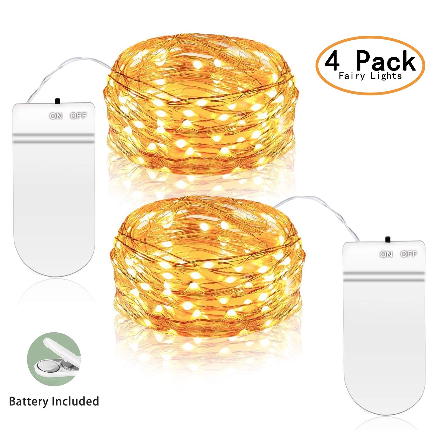 ANJAYLIA-4 Pack-Fairy String Lights, 9.8ft 30LEDs String Lights Battery Operated, Waterproof Warm White Starry Fairy Lights on Copper Wire, Home Decor Christmas Lights (4 Pack)