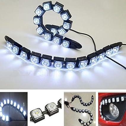 XuBa Car Flexible 12 LED DRL Daytime Running Light Driving Daylight Fog Light Lamp Black Shell//ice Blue Light