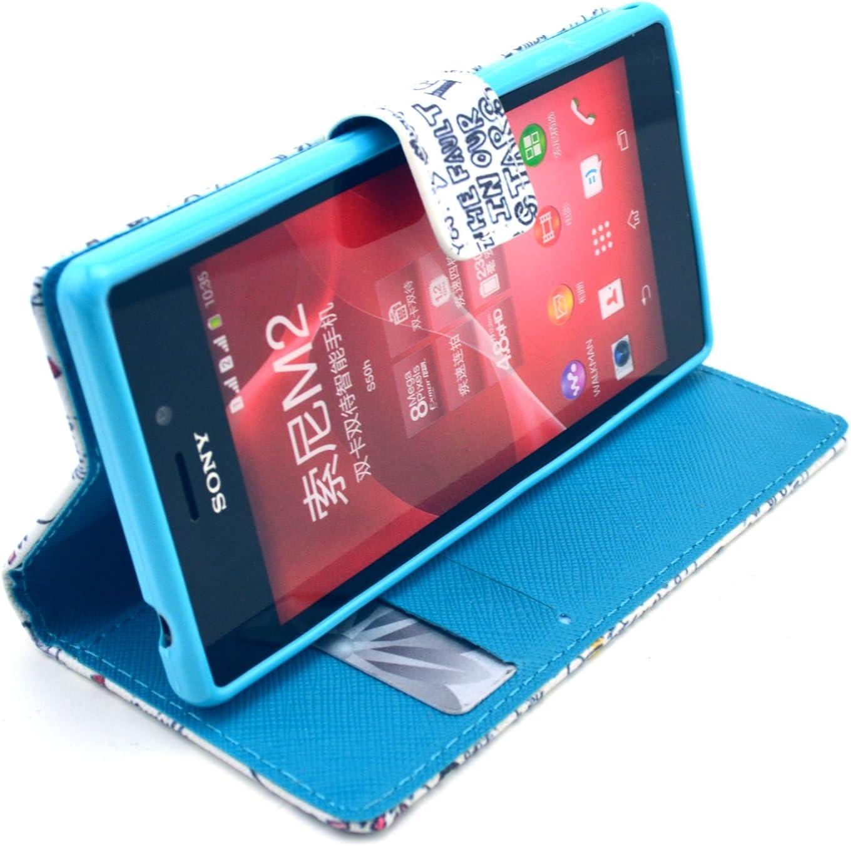 Dokpav® Sony M2 Funda,Ultra Slim Delgado Flip PU Cuero Cover Case para Sony M2 con Interiores Slip compartimentos para tarjetas-OK: Amazon.es: Electrónica