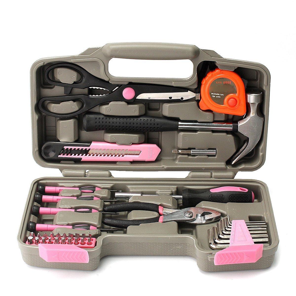 Household Repair Kit, Kisstaker 39Pcs Pink Repair Tool Set Household Kit Womens Ladies Carrying Toolbox Repair Box Case