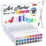 30 Colors Dual Tip Art Markers,Shuttle Art Marker Pens Perfect for Kids Adult Coloring Books Sketching and Card Making.