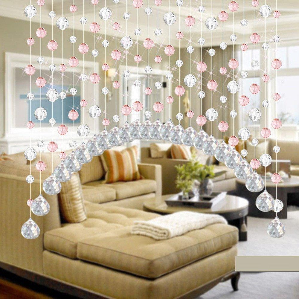 Hide on bush New❤Bead Curtain❤1pcs Home Hot Fashion Crystal Glass Bead Curtain Luxury Living Room Bedroom Window Door Wedding Decor (Pink)